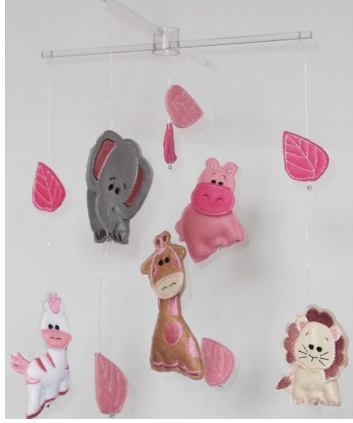 African Safari baby mobiles pink colourway 1
