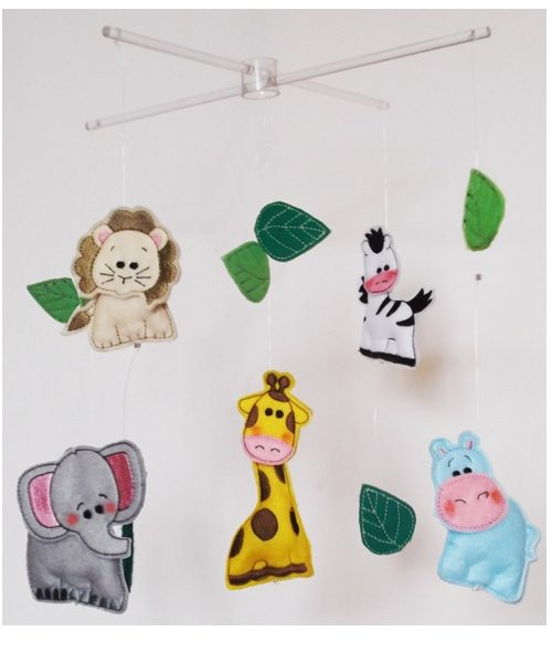 African Safari baby mobiles pink realistic colourway2