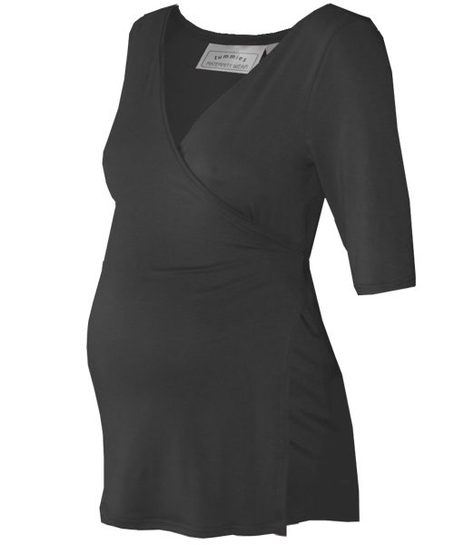 Classic maternity wrap top in black 1