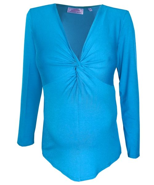 Maternity knot twist top in Turquoise 1