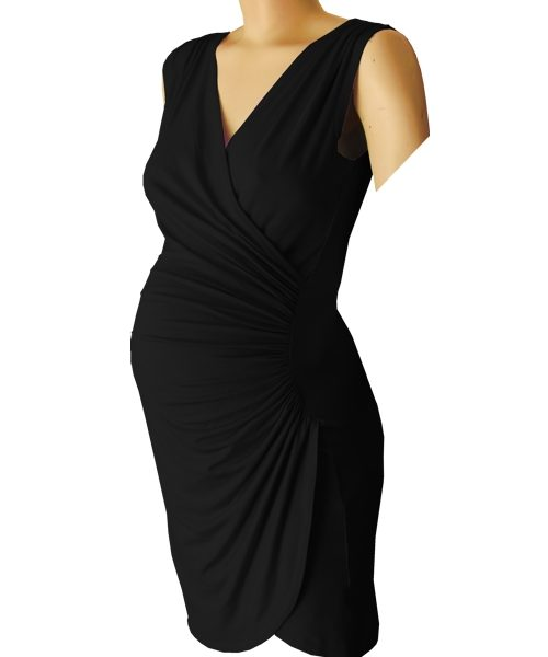 Sleeveless Crossover gathered maternity dress in red 2
