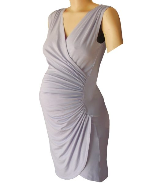 Sleeveless Crossover gathered maternity wear dress