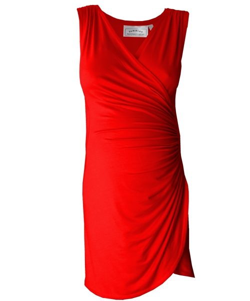 Sleeveless Crossover gathered maternity dress in red 1