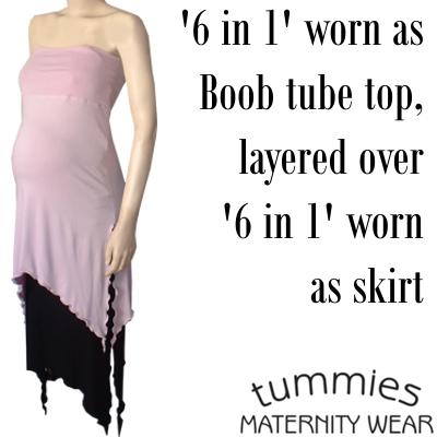 Multi wear '6 in 1' Maternity wear top / skirt