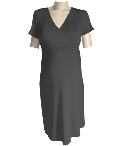 Black Classic maternity crossover wrap dress