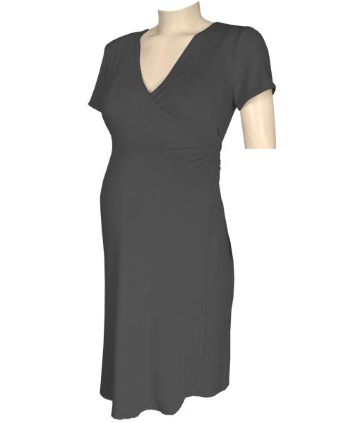 Black Classic maternity crossover wrap dress 1