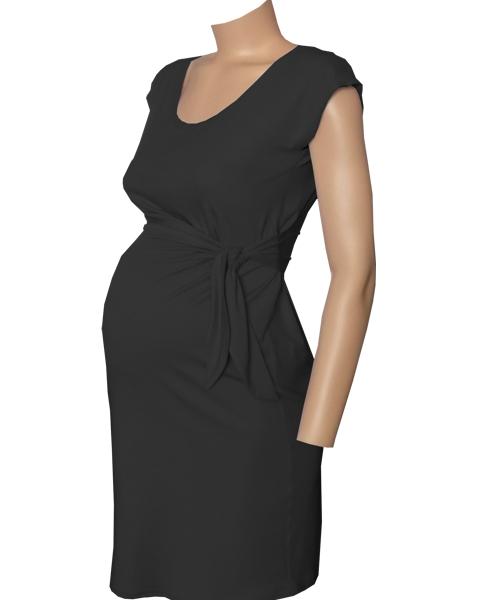 Black draped tie maternity dress 2