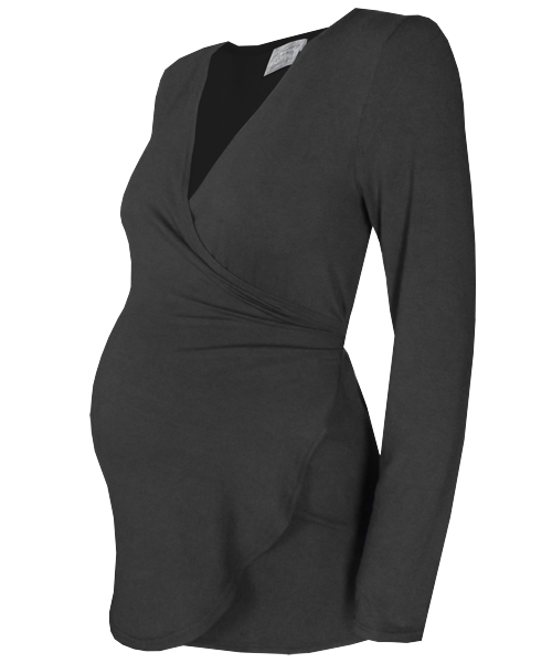 Black Maternity wrap top 1