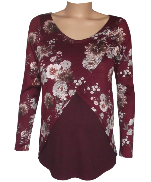 Burgundy Floral Tulip Breastfeeding Maternity Top fv