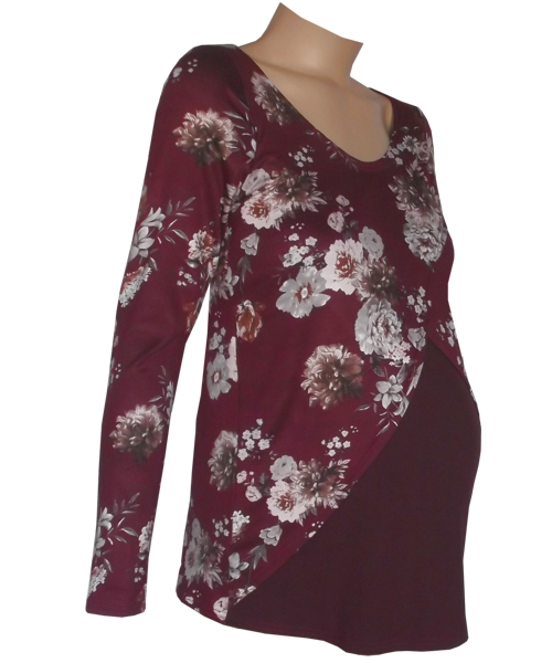 Burgundy Floral Tulip Breastfeeding Maternity Top sv