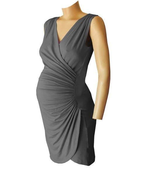 Sleeveless Crossover gathered maternity wear dress Charcoal grey