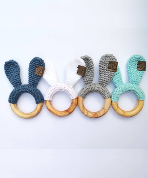 Crochet Cotton and Wood Bunny Teether