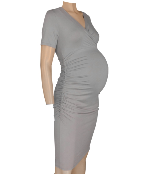 Crossover Gathered sides Maternity Dress