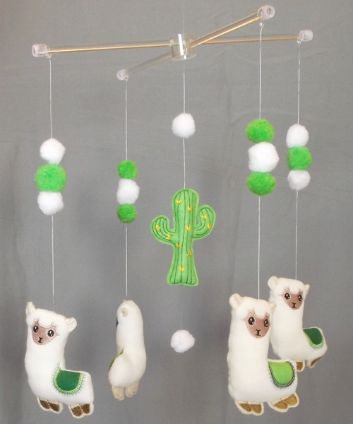 Green Llama and pom-pom baby nursery mobile 2