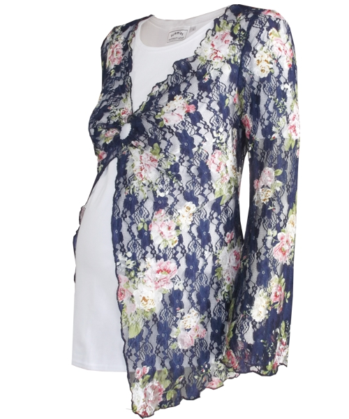 Lace floral overlay maternity top 3
