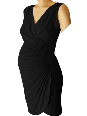 Sleeveless Crossover gathered maternity dress in black