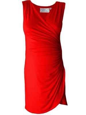 Sleeveless Crossover gathered maternity dress in red