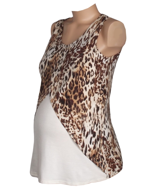 Sleeveless nursing animal print top