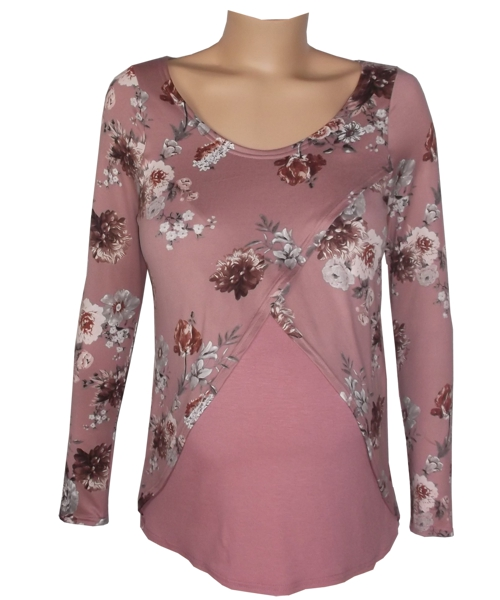 Winter Floral Tulip Breastfeeding Maternity Top fv2