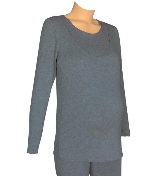 Maternity and Nursing Pyjamas Dark melange grey in *Large* 1