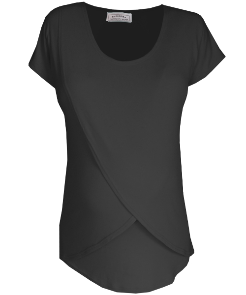 Tulip Maternity Breastfeeding Top in black